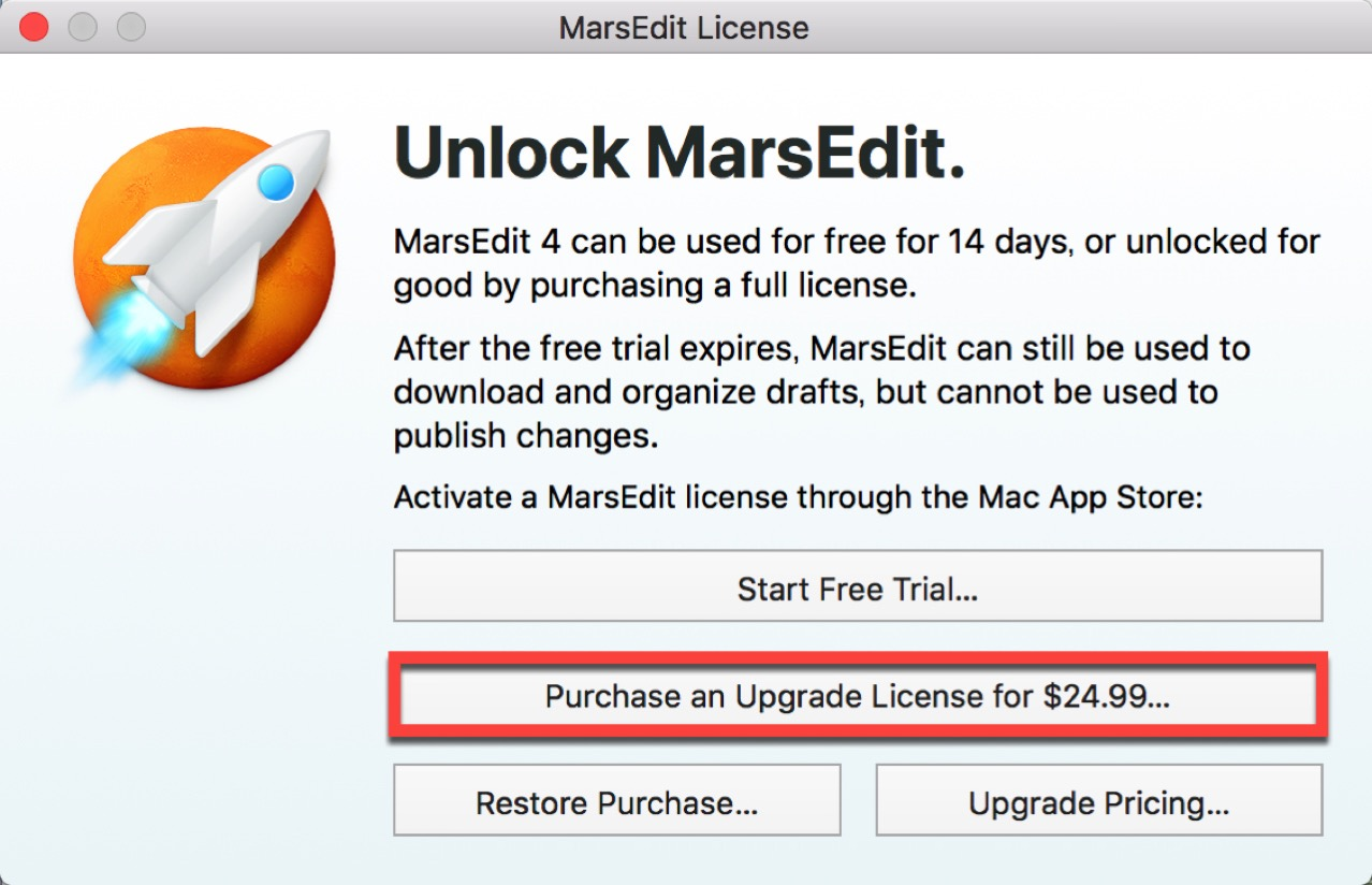 Purchase an Upgrade License が24.99ドルになる