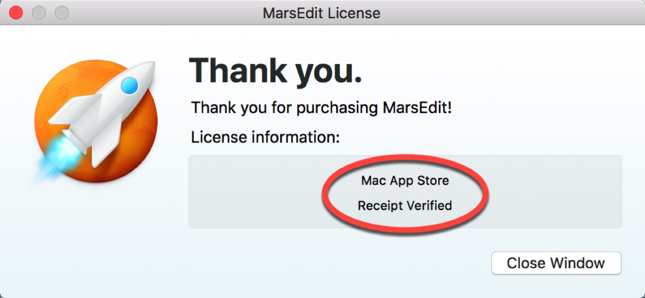 MarsEdit License を確認する